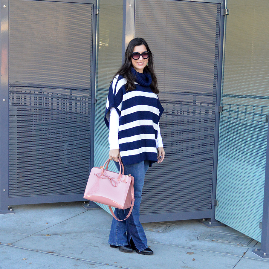 c41b21bafab6 ... Bay Area Fashionista. how to transition from winter into spring spring  striped poncho banana republic poncho reversible poncho mansur gavriel sun  tote ...