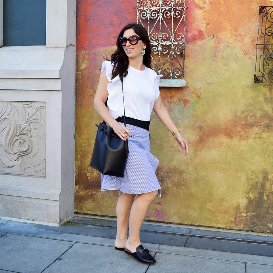 asymmetrical hemline outfit idea