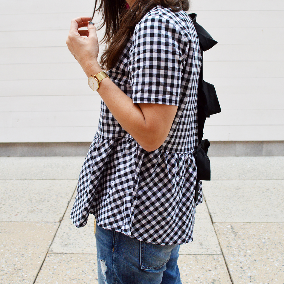black white checkered blouse