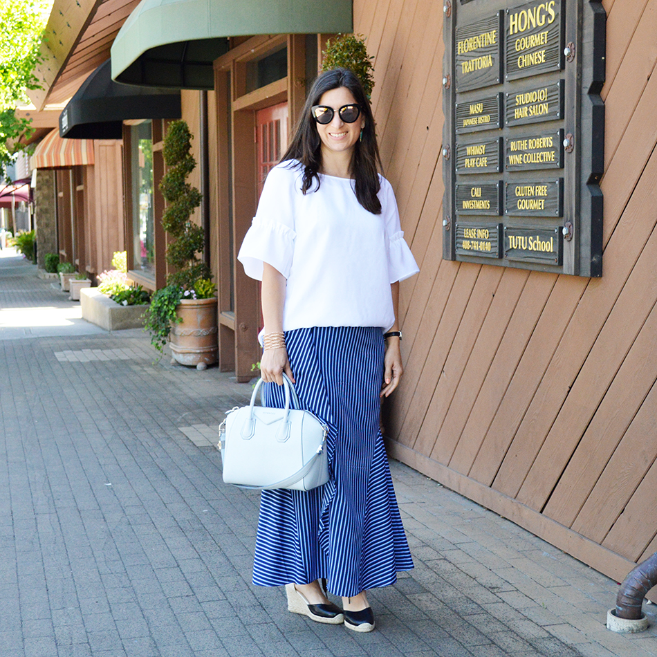 summer maxi skirt outfit idea