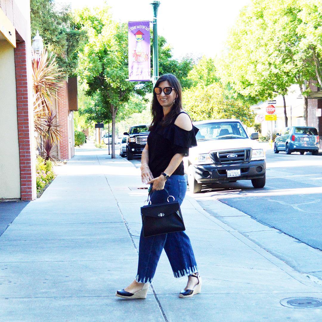 wide leg jeans outfit idea
