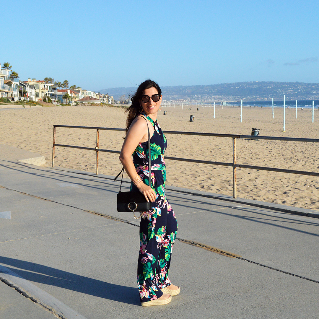 how to wear a floral jumpsuit