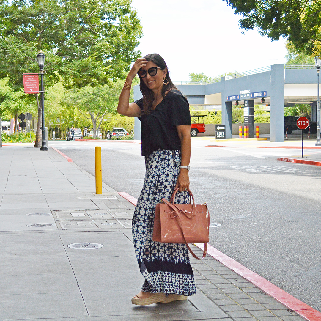 blue printed maxi skirt